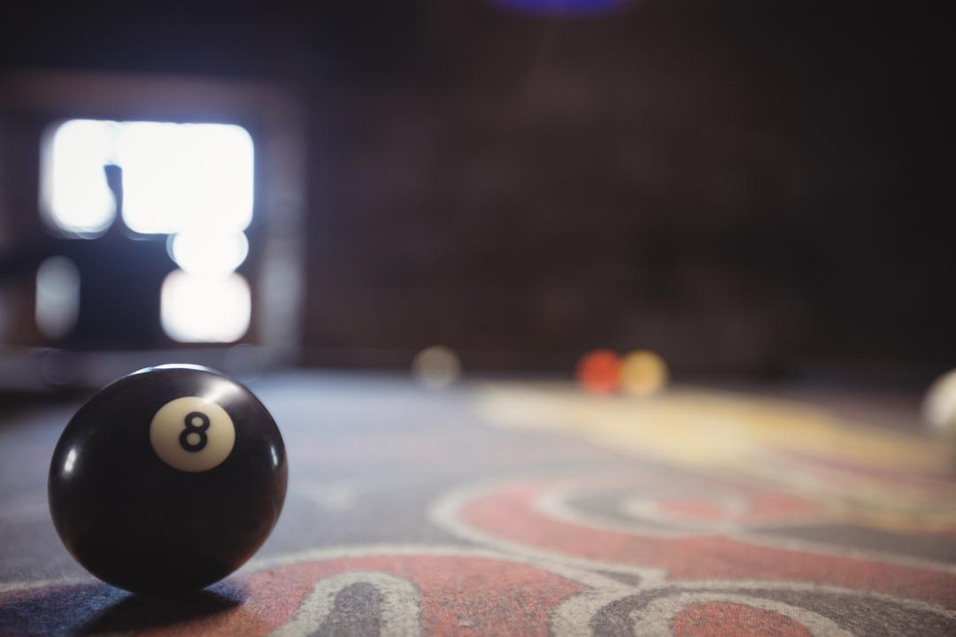 Close up of 8 ball on proper time