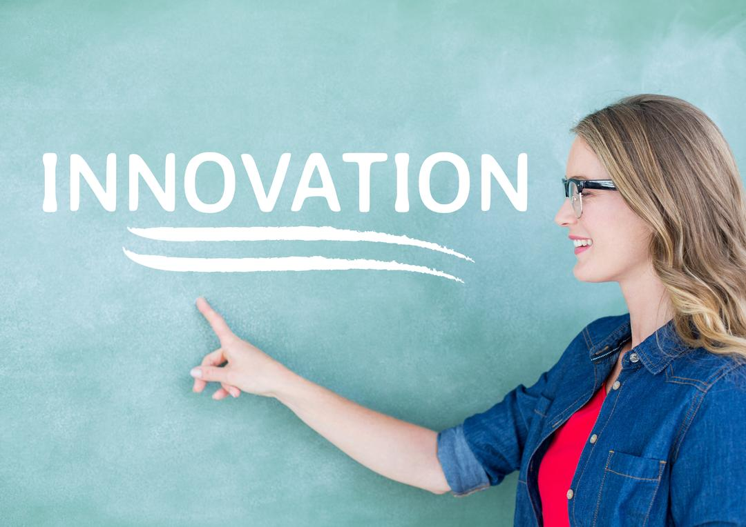 Digital composite image of teacher pointing on chalkboard with text innovation Free Stock Images from PikWizard