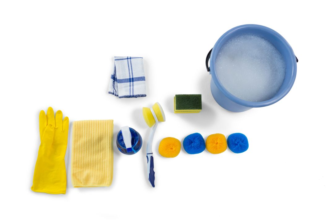 Overhead view of bucket and cleaning equipment against white background Free Stock Images from PikWizard
