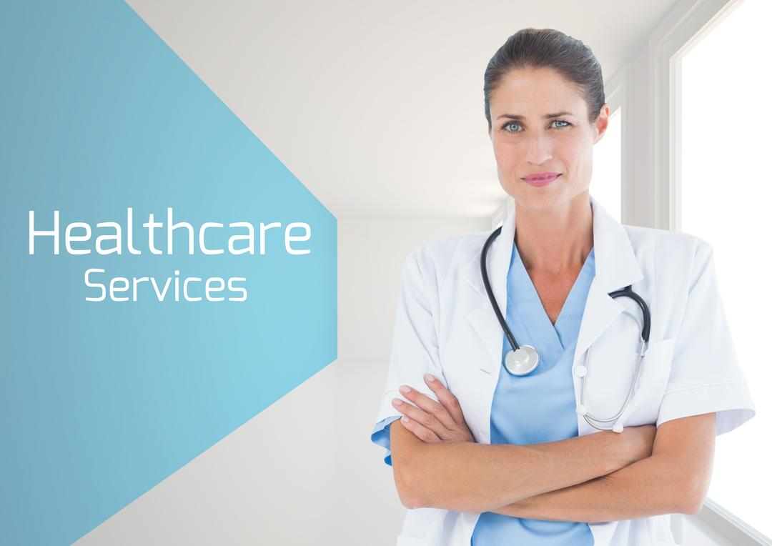 Digital composition of doctor standing with arms crossed with healthcare services text Free Stock Images from PikWizard