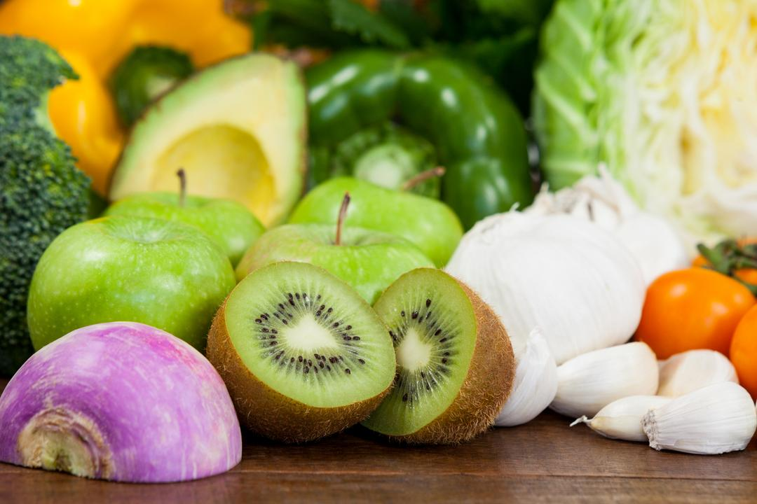 Close-up of various fresh vegetables and fruit on table - diet concept Free Stock Images from PikWizard