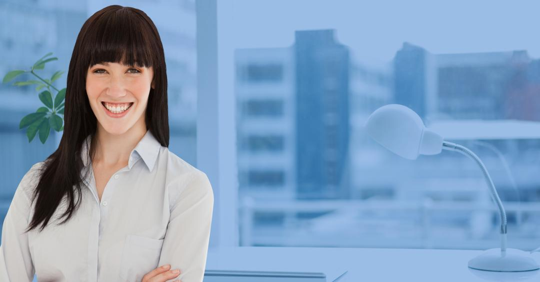 Digital composition of confident businesswoman standing in office