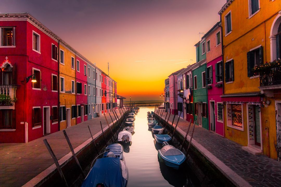 Boats Buildings Canal Color Venice Free Photo