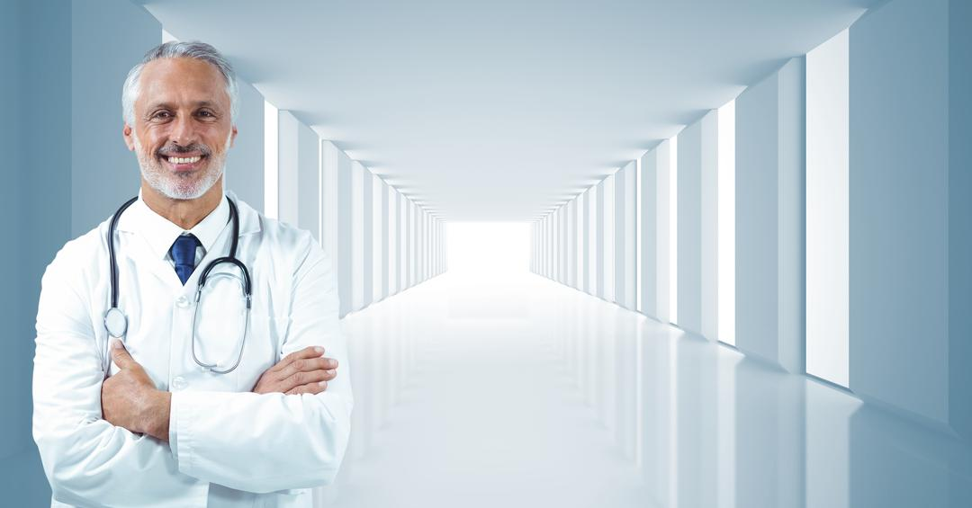 Digital composite image of male doctor standing with arms crossed in corrirdor Free Stock Images from PikWizard