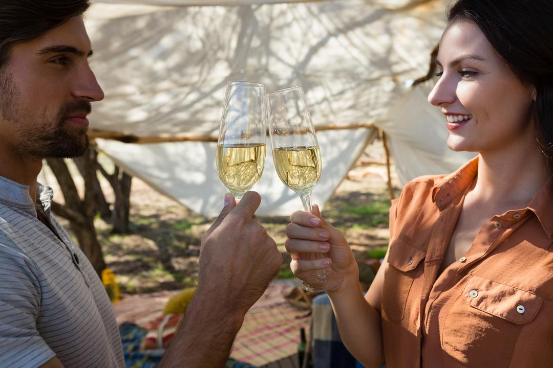 Young couple toasting champagne flutes in tent