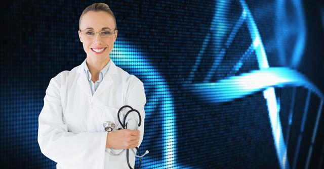 Digital composition of female doctor with stethoscope against medical background
