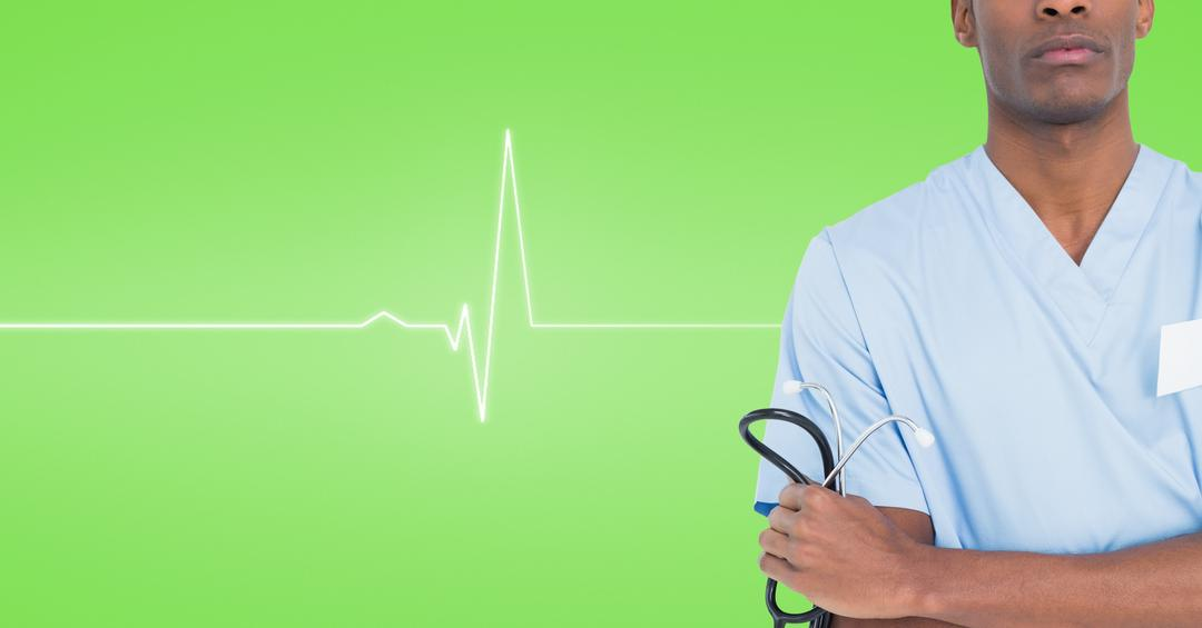 Digital composite image of male surgeon standing and holding stethoscope Free Stock Images from PikWizard
