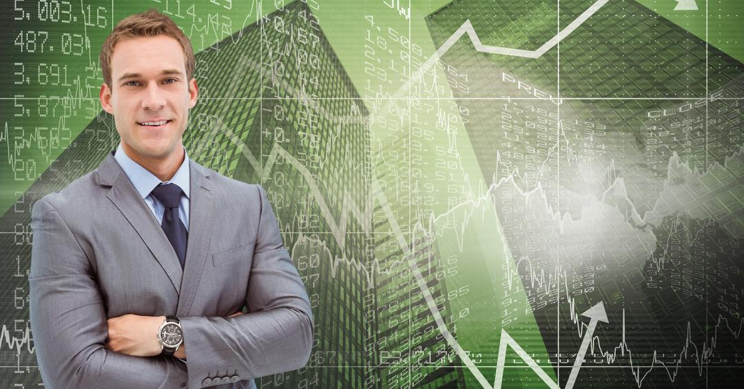 Portrait of business executive standing with arms crossed against digital generated background Free Stock Images from PikWizard