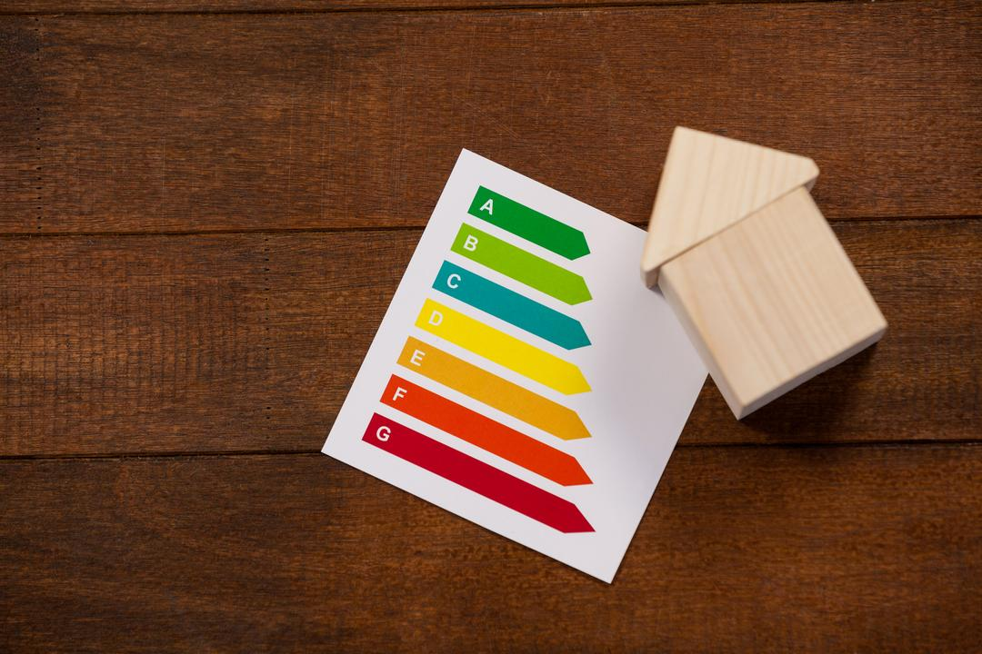 Conceptual image of miniature house with energy efficiency rating chart Free Stock Images from PikWizard