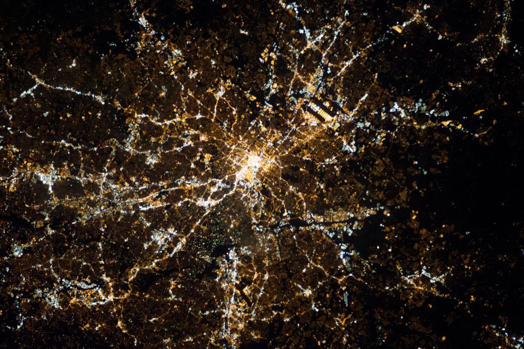 ISS034-E-032466 (20 Jan. 2013) -- One of the Expedition 34 crew members aboard the International Space Station, flying at an altitude of approximately 240 miles, photographed this vertical night view of the metropolitan area of Atlanta, Georgia.