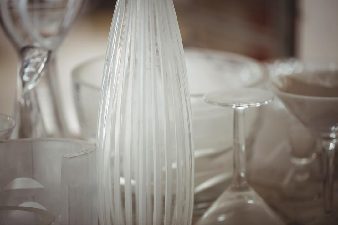 Close-up of glassware at glassblowing factory