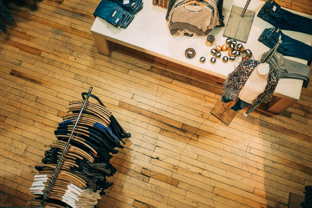 Aerial shot of a clothing store with clothes on display