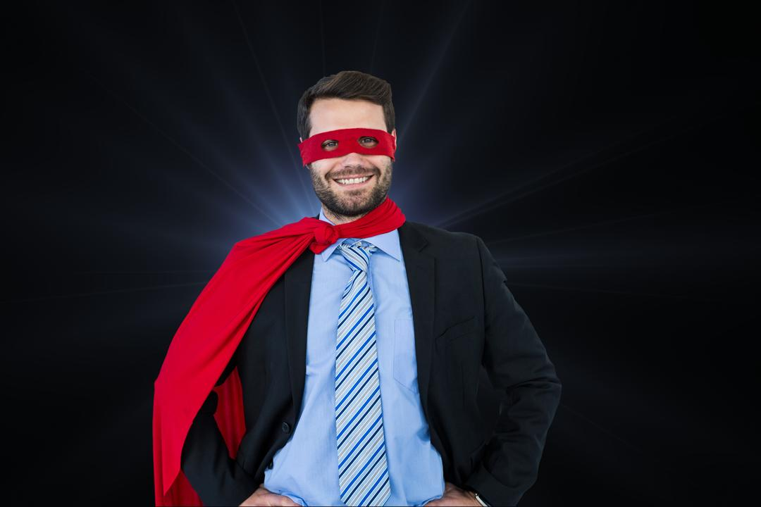 Digital composite of Portrait of happy businessman wearing superhero costume