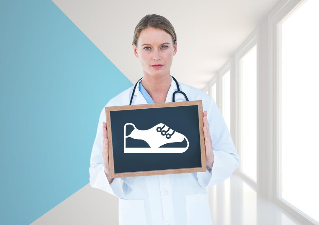 Digital composition of surgeon holding slate with shoe vector sign Free Stock Images from PikWizard