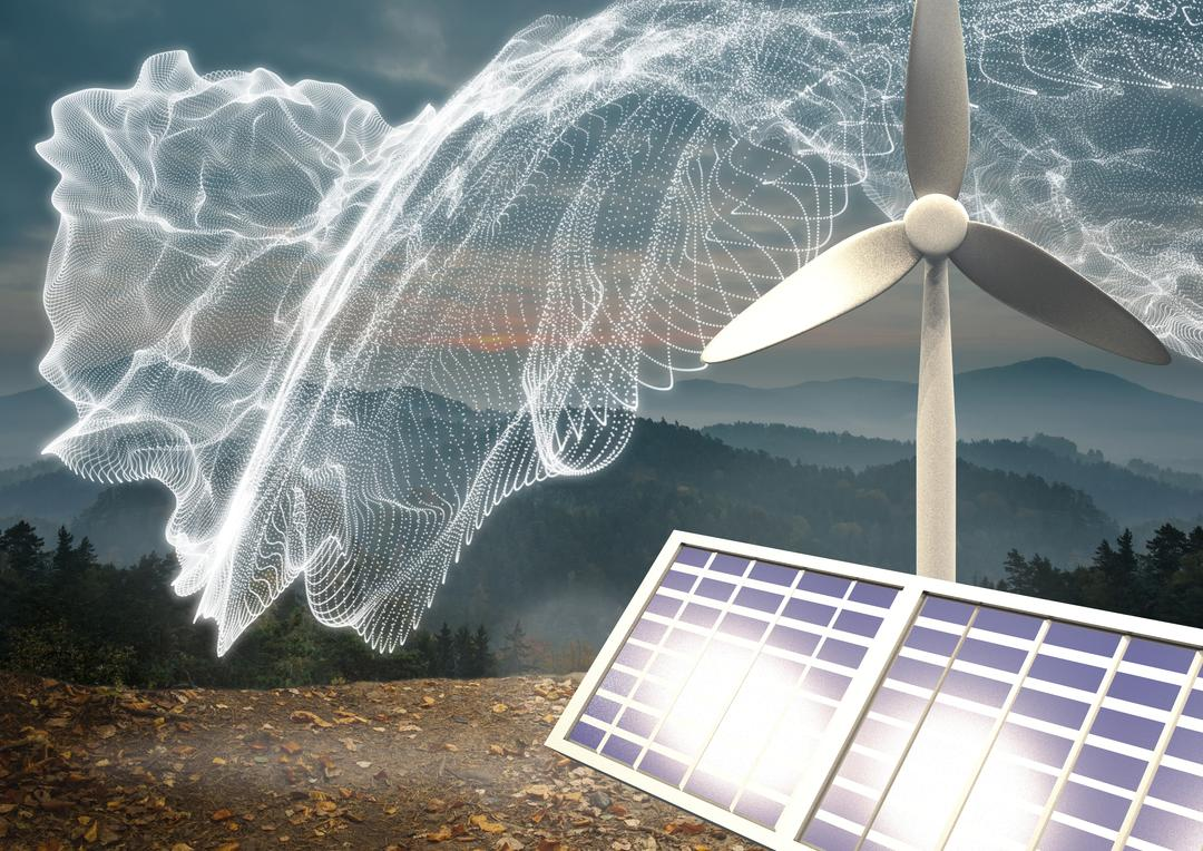 Digital composition of wind turbine and solar panel against mountains in background Free Stock Images from PikWizard