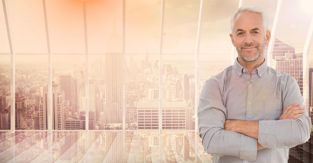 Digital composition of businessman standing with arms crossed against cityscape in the background Free Stock Images from PikWizard