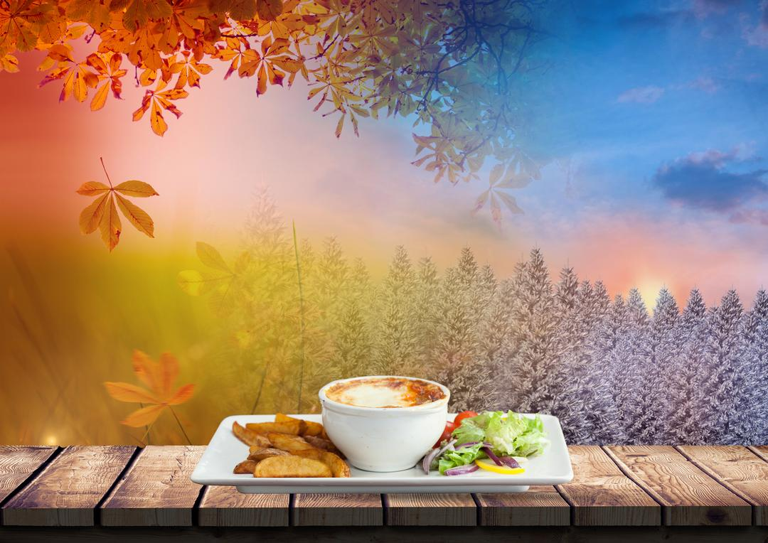 Digital composition of autumn and winter season with food in tray