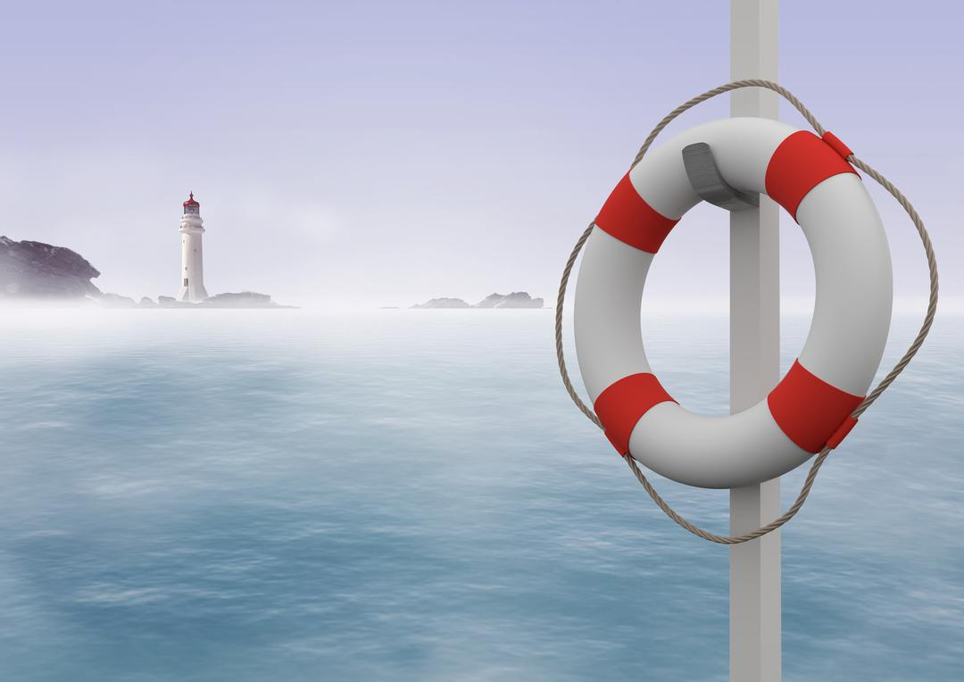 Digitally generated image of lifebuoy hanged on the pole with sea in the background Free Stock Images from PikWizard