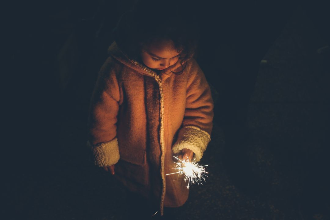 Girl sparkler sparks night