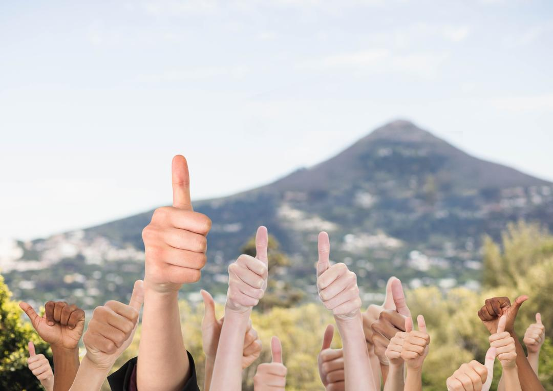 Digital composite of Thumbs up mountain