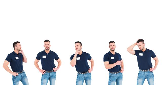 Digital composite of service man thinking collection