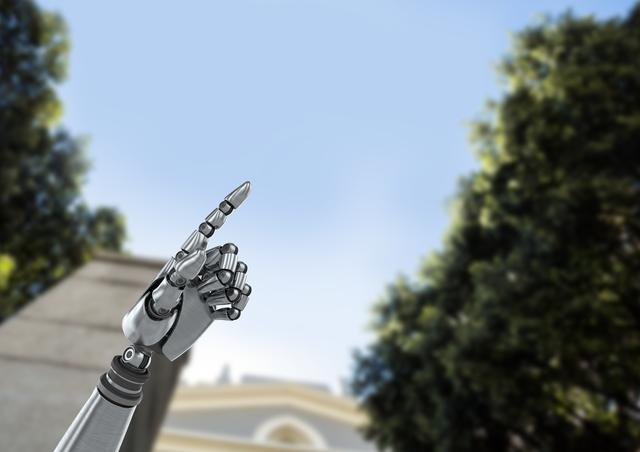 Digital composite of Android Robot hand pointing with sky and trees background