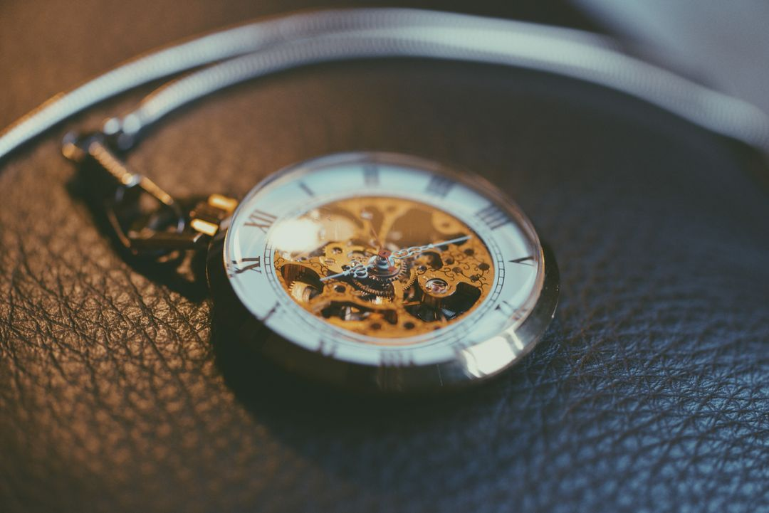 Image of watch on leather surface