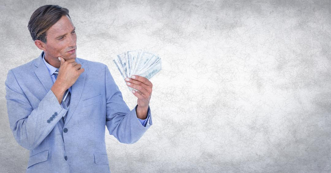 Digital composite of Business man looking at money against white grunge background Free Stock Images from PikWizard