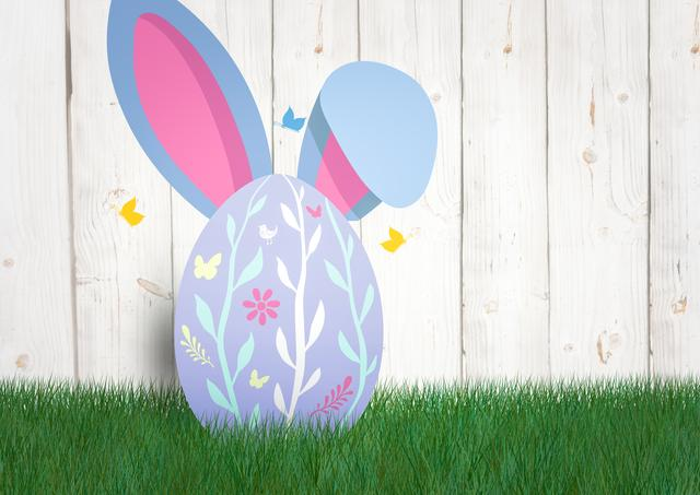 Digital composite of Egg with rabbit ears and butterfly. Happy Easter.