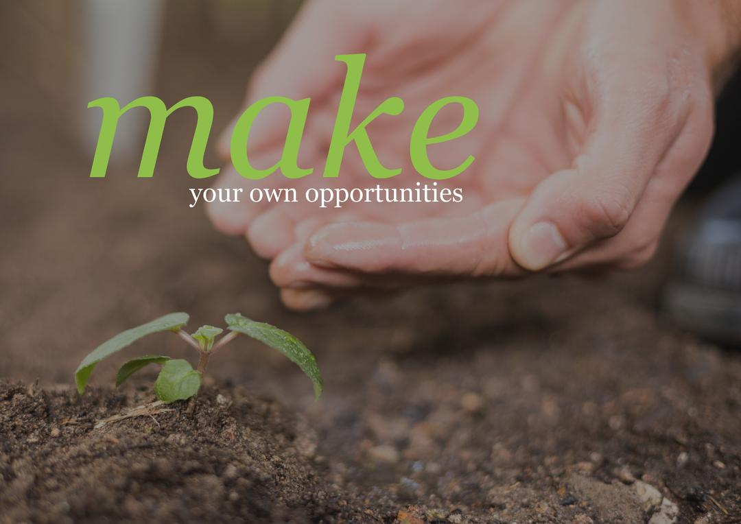 Conceptual image of hands cupped near a sapling and inspirational message