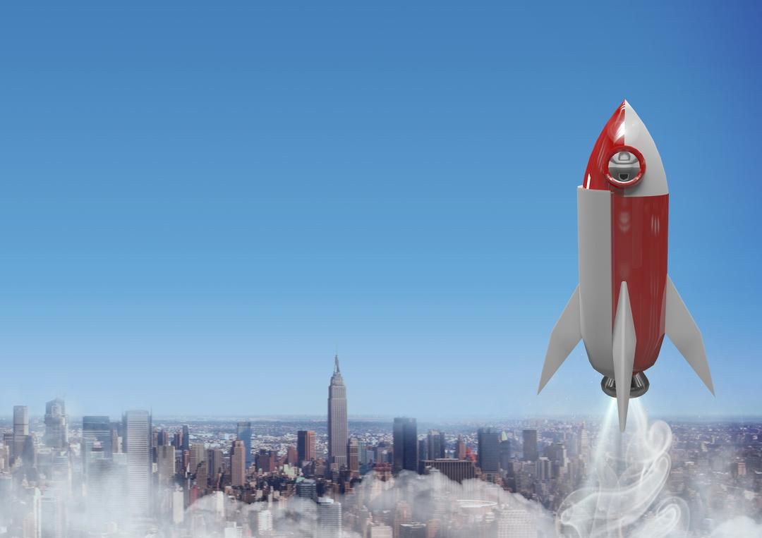 Digital composite of 3D Rocket flying over city