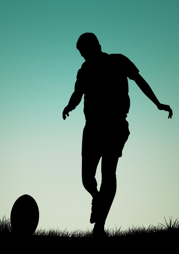 Silhouette of male athlete playing football at dusk Free Stock Images from PikWizard