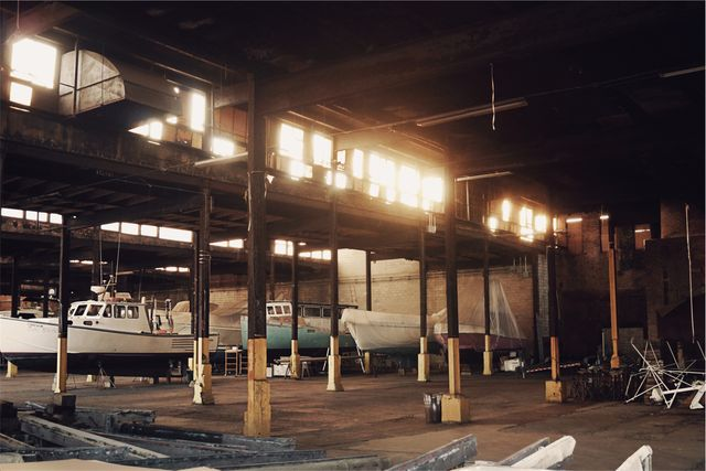 Warehouse industrial boats