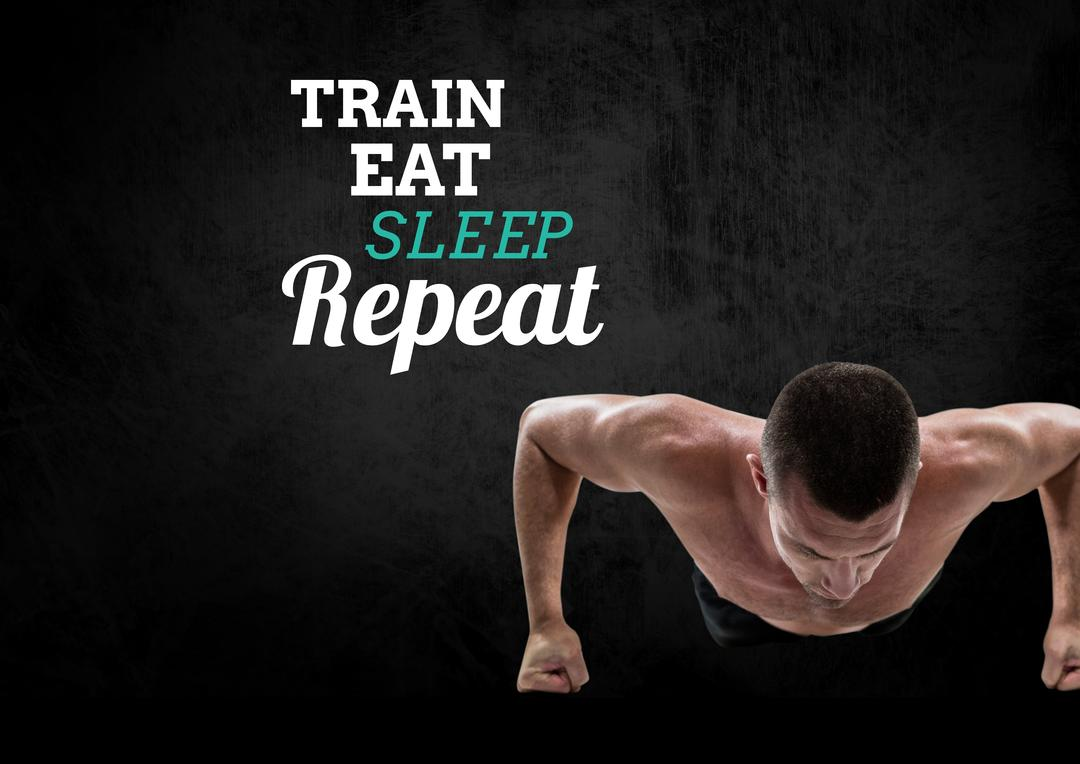 Digital composition of motivational message with healthy man doing push ups against black background