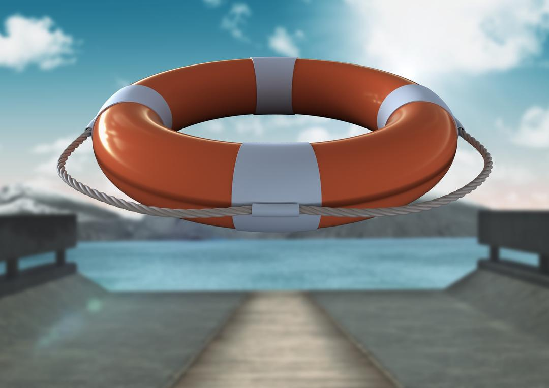 Digital composite image of lifebuoy with rope in mid-air on a sunny day
