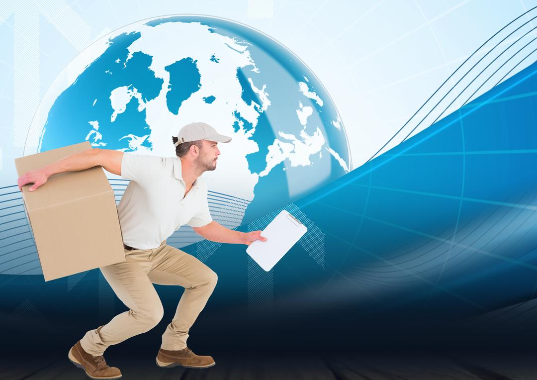 Digital composition of delivery man carrying cardboard box and holding clipboard