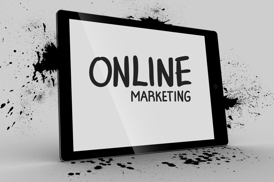 Digital composite of Online marketing message on tablet Free Stock Images from PikWizard