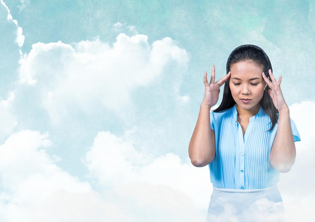 Digital composite of Woman with hands on head peaceful meditative in cloudy sky Free Stock Images from PikWizard