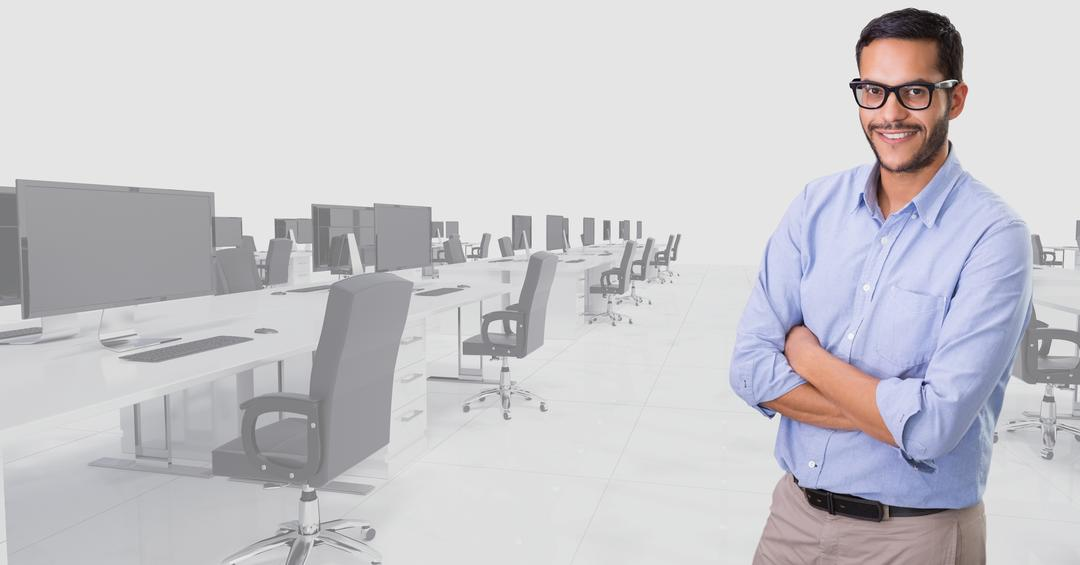 Digital composition of man standing with his arms crossed against office background