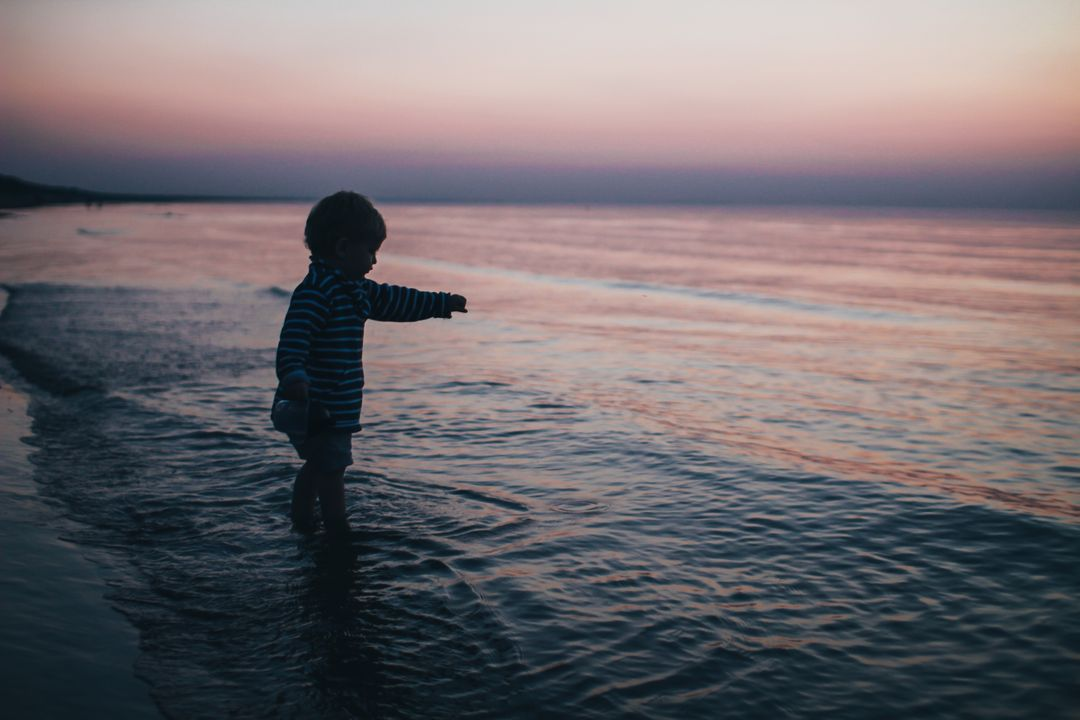 Child Boy Beach Sea Dusk Free Photo