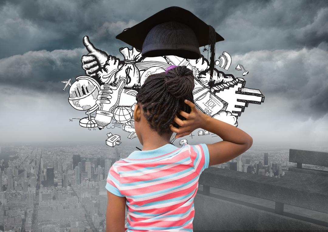 Digital composition of thoughtful girl with graduation cap against cityscape in background
