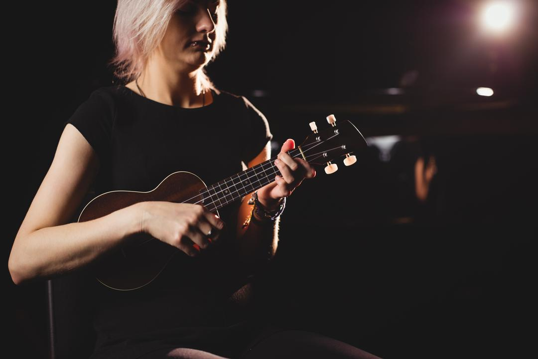 Beautiful woman playing a guitar in music school