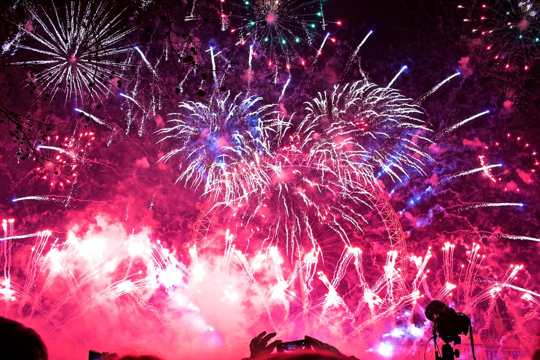 Image of a Pink Sky Full of Fireworks
