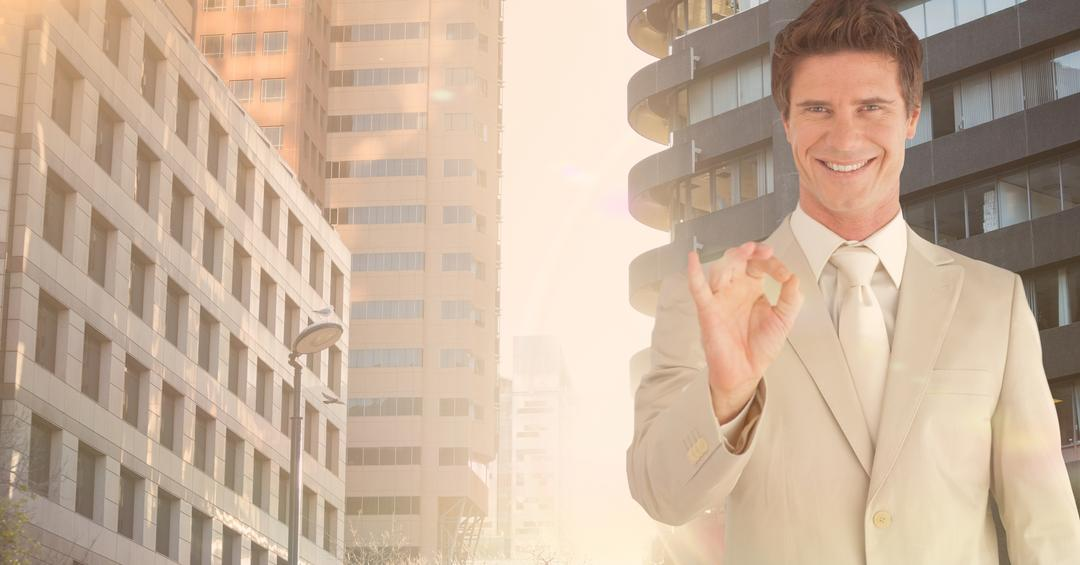 Digital composite image of happy business executive gesturing against city background