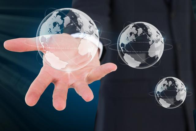 composite of hand holding globe graphics