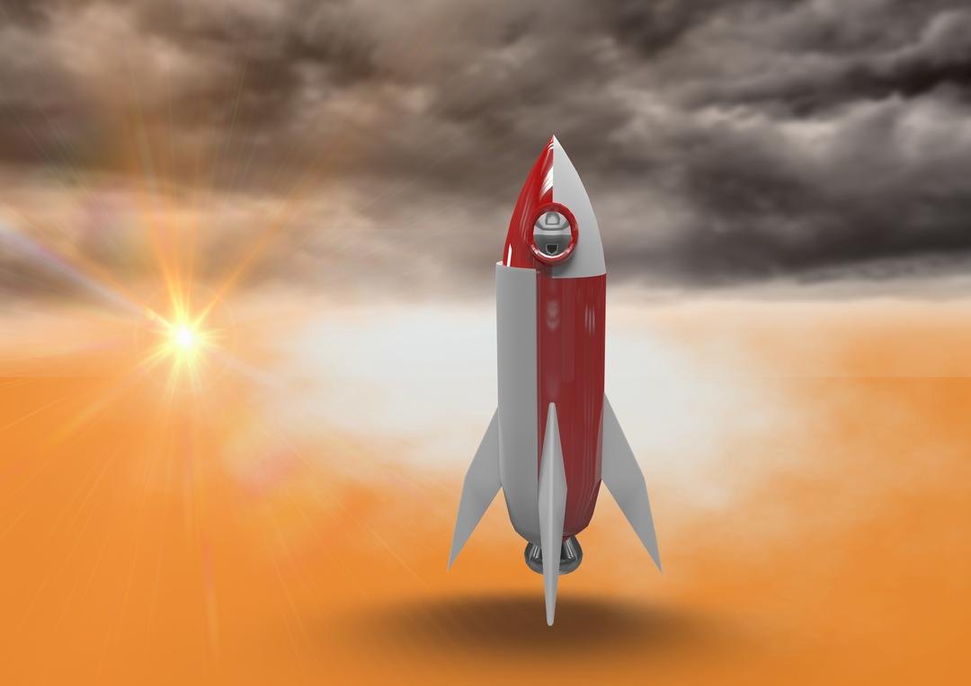 Digital composite of Composite image of rocket 3d