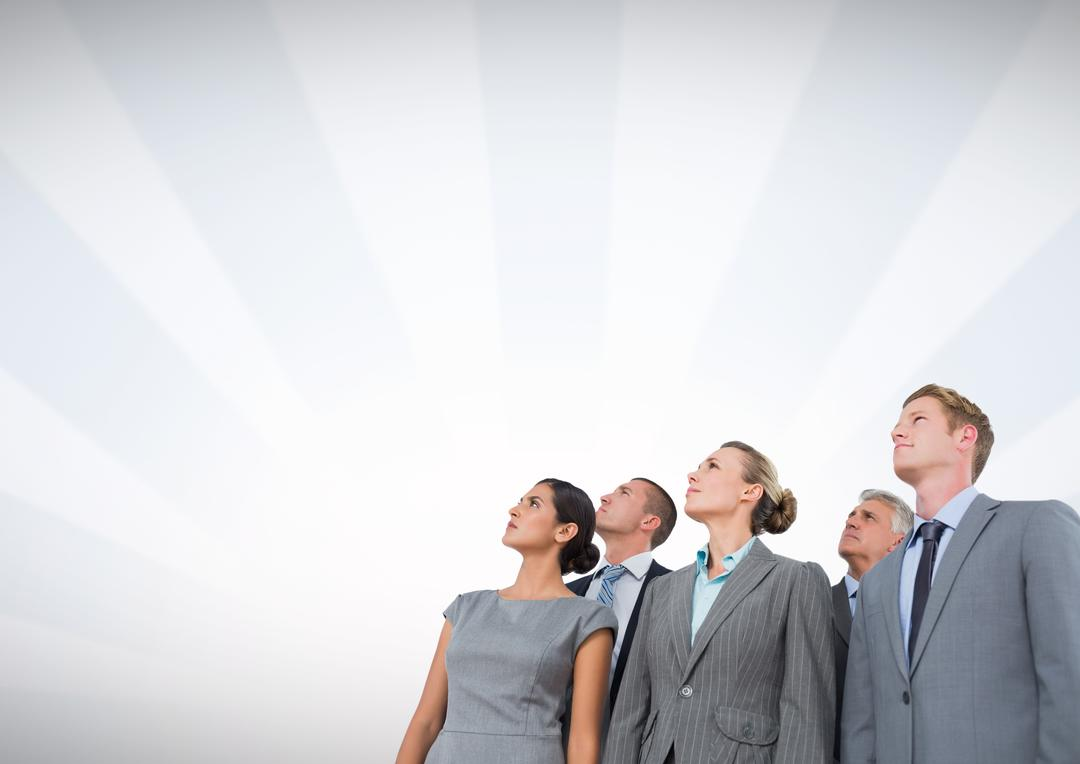 Digital composite of Business people looking up with radial background Free Stock Images from PikWizard