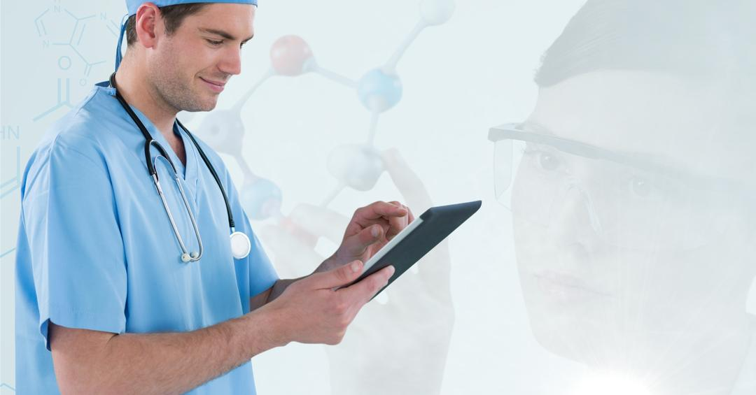 Digital composite of Doctor working with his tablet and scientist working with molecules