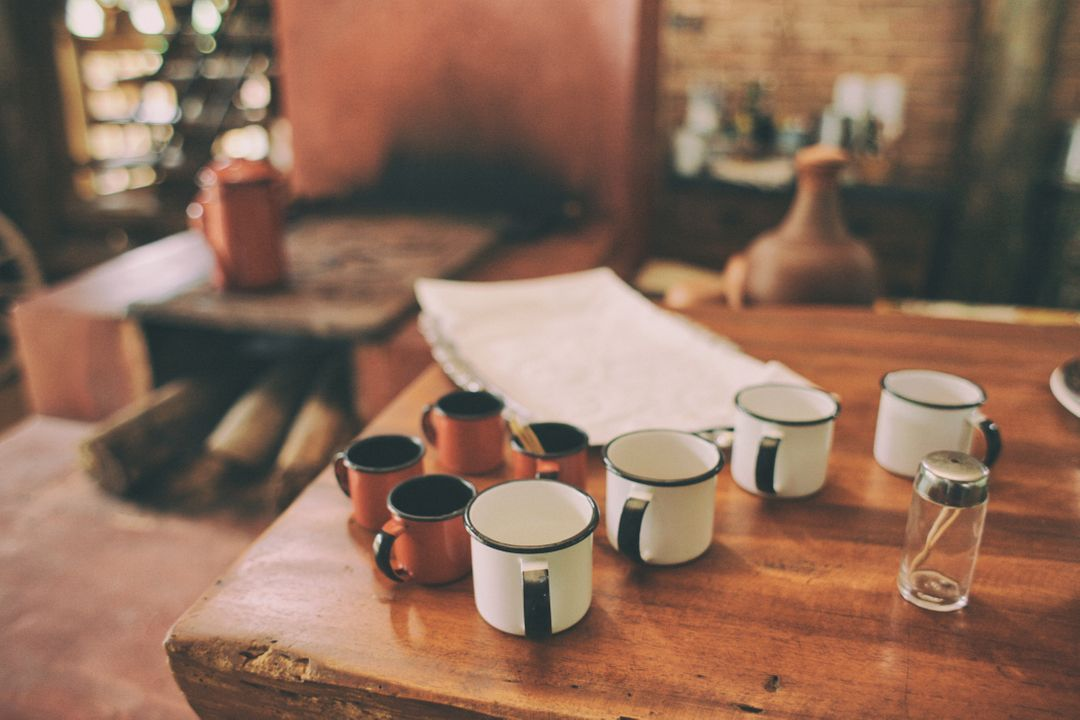 Wood table hut cups