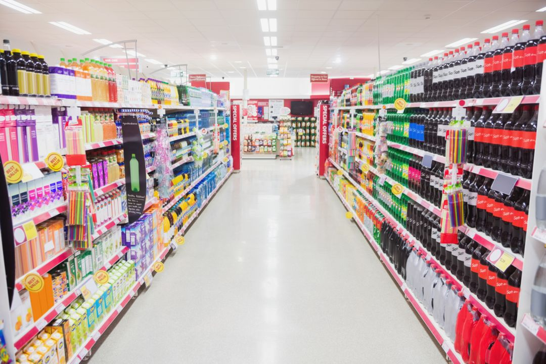 Facing view of an aisle in supermarket Free Stock Images from PikWizard